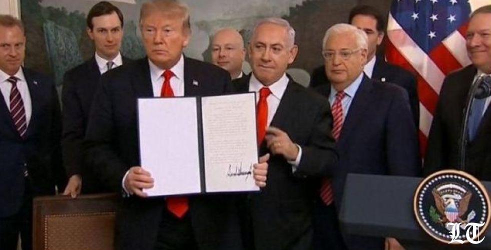 ترامب يعترف بسيادة اسرائيل على الجولان السوري