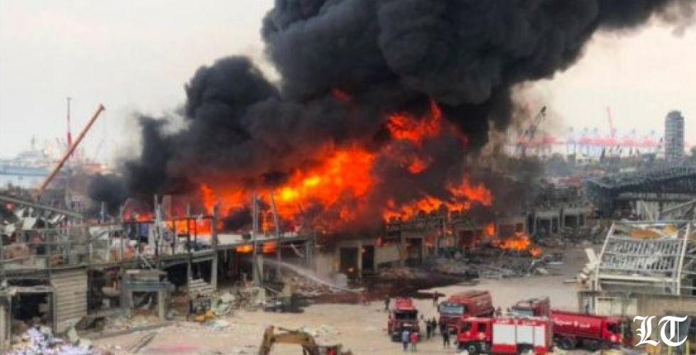 حريق زيوت واطارات في المرفأ